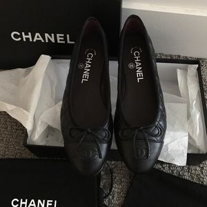 Authentic Chanel Black Leather Quilted Flats